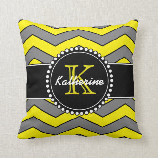 Yellow and Grey Chevron, Personalized, Monogrammed Cushion