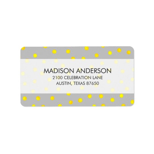 Yellow And Grey Confetti Dots Label
