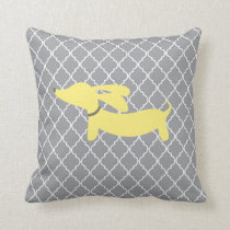 Yellow and Grey Dachshund Home Decor Pillow