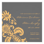 Yellow and Grey Damask Save the Date Custom Invitations