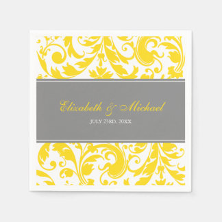 Yellow and Grey Damask Swirls Wedding Disposable Serviettes