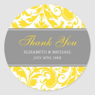 Yellow and Grey Damask Swirls Wedding Thank You Classic Round Sticker