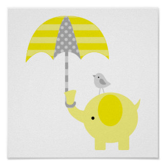 Yellow and Grey Elephant and Bird Nursery Poster