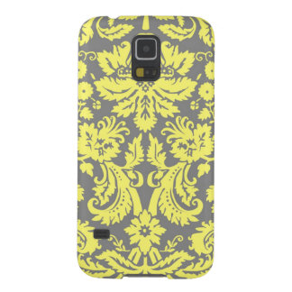 Yellow and Grey Fancy Damask Patterned Case For Galaxy S5