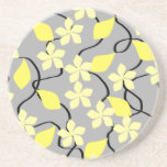 Yellow and Grey Flowers. Floral Pattern. Coaster