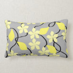 Yellow and Grey Flowers. Floral Pattern. Pillow