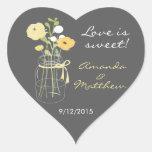 Yellow and Grey Mason Jar Wedding Favour Stickers