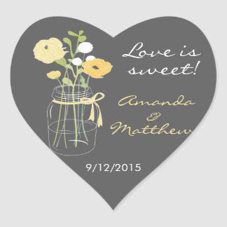 Yellow and Grey Mason Jar Wedding Favour Stickers