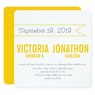 Yellow and Grey Modern Typography Wedding 13 Cm X 13 Cm Square Invitation Card