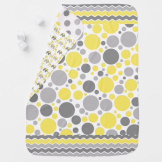 Yellow and Grey Multi-Pattern Baby Blanket