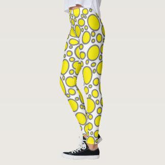 Yellow and Grey Polka Dots Leggings