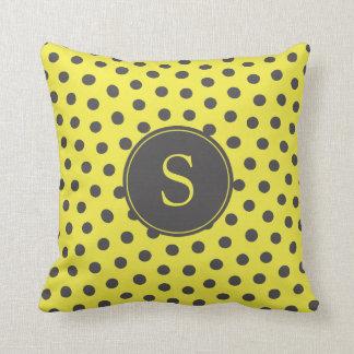 Yellow and Grey Polka Dots with Custom Monogram Cushion