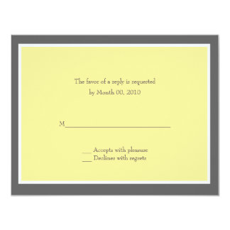 Yellow and Grey Reply cards 11 Cm X 14 Cm Invitation Card