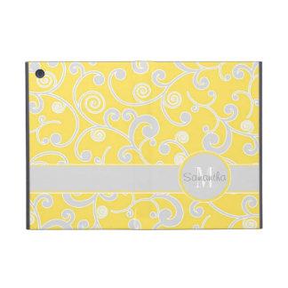 Yellow and Grey Scroll Design Custom Monogram iPad Mini Cover