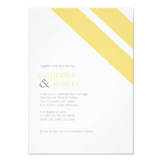 Yellow and Grey Striped Wedding Invitation
