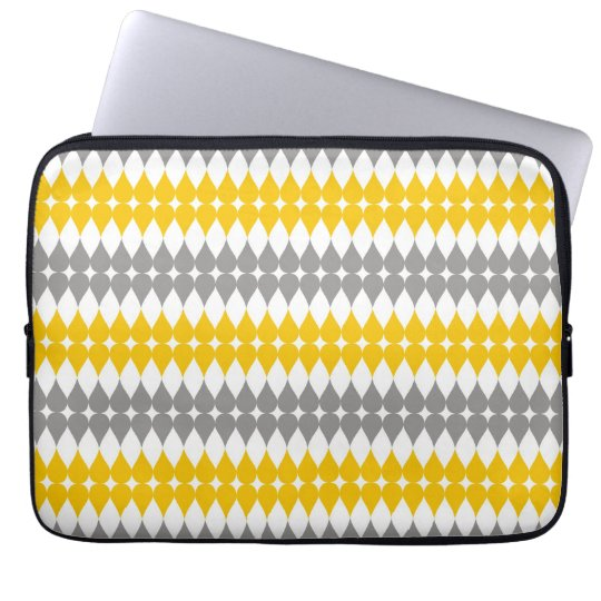 Yellow And Grey Tear Drop Pattern Laptop Sleeve 13