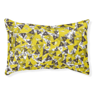 Yellow And Grey Triangle Pet Bed