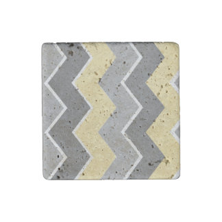 Yellow and Grey Zig Zag Pattern Stone Magnet