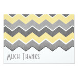 Yellow and Grey Zig Zag Pattern Thank You Personalized Announcement