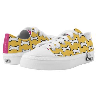 Yellow and Hot Pink Dog Bone #GOFORTH Low Tops