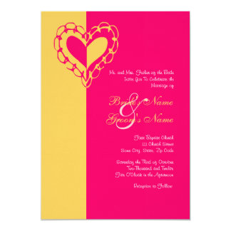 "Yellow and Hot Pink Heart Wedding Invitation 5"" X 7"" Invitation Card"