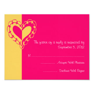 Yellow and Hot Pink Heart Wedding RSVP Custom Announcements