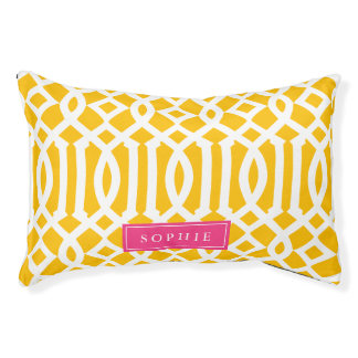 Yellow and Hot Pink Trellis Monogram Pet Bed