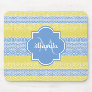 Yellow and Light Blue Knit Pattern With Monogram Mouse Pad