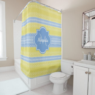 Yellow and Light Blue Knit Pattern With Monogram Shower Curtain