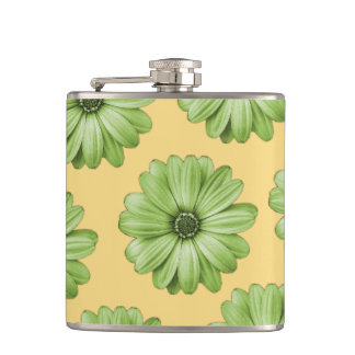 Yellow and Light Green Tropical Floral Print Hip Flask