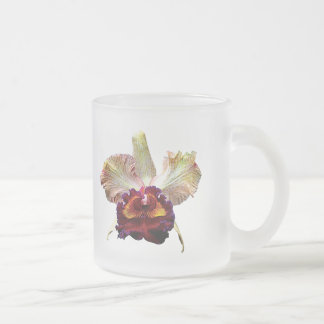 Yellow and Magenta Orchid Frosted Glass Coffee Mug