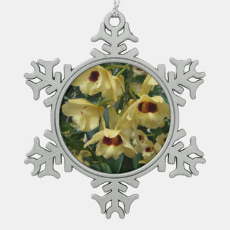 Yellow and Maroon Orchids Elegant Floral Photo Snowflake Pewter Christmas Ornament
