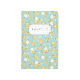 Yellow and Mint Chic Vintage Floral Print Monogram Journal