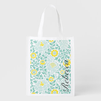 Yellow and Mint Retro Floral Damask Monogram Reusable Grocery Bag