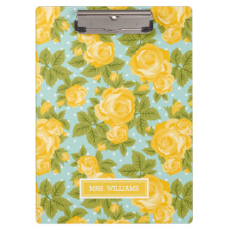 Yellow and Mint Vintage Roses Monogram Clipboard