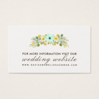 Yellow and Mint Wedding Website Cards