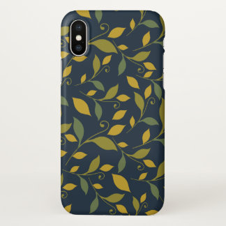 Yellow and Moss Green Leaves on Navy Blue iPhone X Case