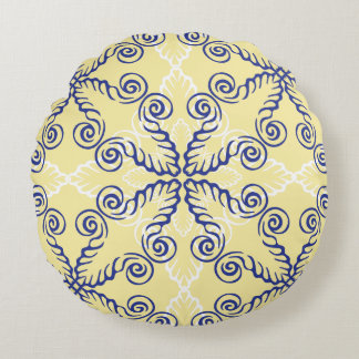 Yellow and Navy Blue Pattern Round Pillow