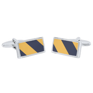 Yellow and Navy Blue Stripes Silver Finish Cuff Links