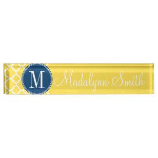 Yellow and Navy Quatrefoil Pattern Custom Monogram Name Plate