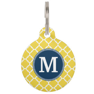 Yellow and Navy Quatrefoil Pattern Custom Monogram Pet ID Tags