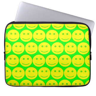 Yellow And Neon Green Smiley Faces Computer Sleeve