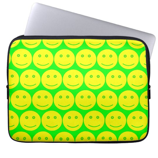 Yellow And Neon Green Smiley Faces Laptop Sleeve