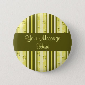 yellow and olive stripes 6 cm round badge