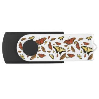 Yellow and Orange Butterflies USB Flash Drive Swivel USB 2.0 Flash Drive