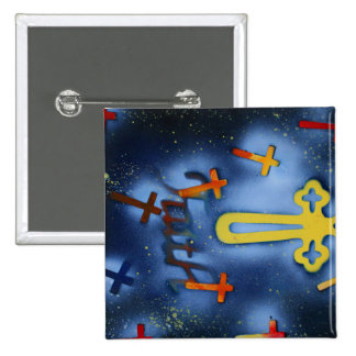 Yellow and orange crosses spacepainting button