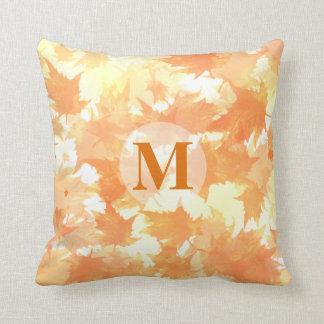 Yellow and Orange Falling Leaves Pattern Monogram Cushion