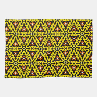 Yellow and Orange Filigree Triangle Pattern Tea Towel