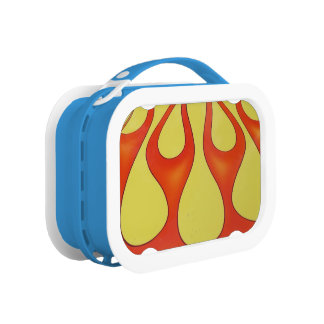 Yellow and orange flames that are bright lunch box