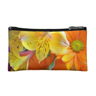 Yellow and orange flower cosmetic bag